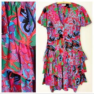 VTG 80s Images 100% Silk Floral Ruffle Dress